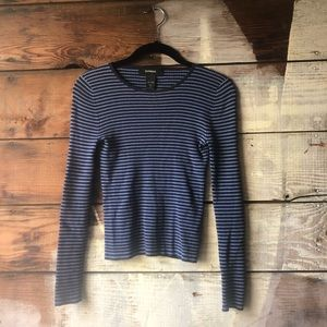 3/$25 Express Blue Striped Size Small Long Sleeve